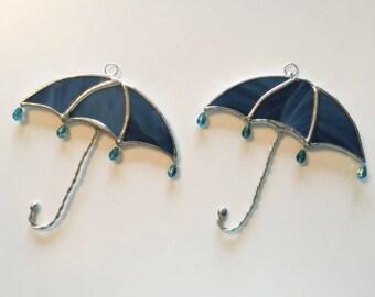 Handmade Stained Glass Umbrella (with Raindrops) Suncatcher