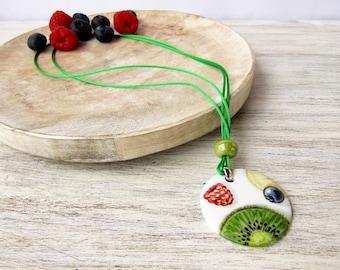 Necklace with porcelain pendant hand painted with kiwi and berries, bijoux porcelain jewelry, ceramic pendant, ceramics fruit salad bijoux