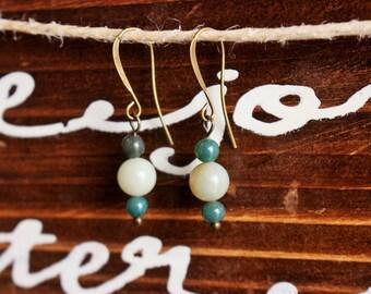 Dangle Earrings, Quartzite Earrings, Czech Glass Bead Earrings, Christmas Earrings, Gifts for Her