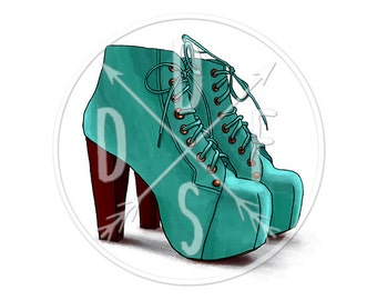 A0107_cyan - Jeffrey Campbell Lita Boots, Fashion, Turquoise - Digital Print, Instant Download. Printable Illustration. PNG/JPG files 8x10''