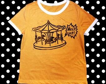 Help Us Horses linoprint mustard T-Shirt