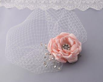 Wedding Veil, Birdcage Veil, Bridal Headpiece, Wedding Hair Piece, Flower Veil, Flower Hair Clip, Blusher Veil, Vintage Style Headdress