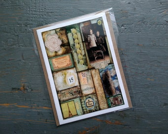 SALE! Vintage Card, Vintage Mosaic Card, Sale Card, Clearance Card, blank greeting card note card, Mixed Media Art, Collage Art