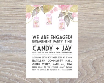 Mason Jar Floral Engagement Party Invitation - PRINTABLE