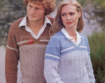 Unisex Sweaters 4-ply 32-46in Sirdar 6040 Vintage Knitting Pattern PDF instant download