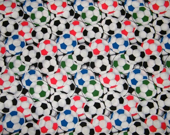 BTY Colorful SOCCER BALLS Print 100% Cotton Quilt Craft Fabric by the Yard