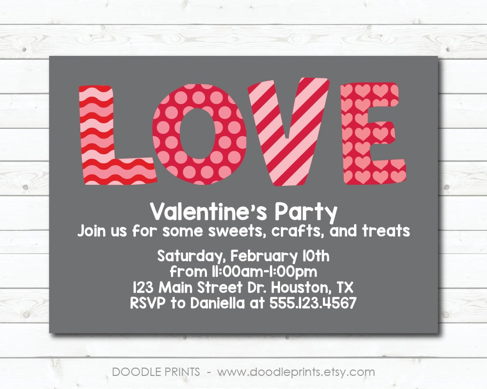 Valentine\'s Party Invitation Valentine Birthday
