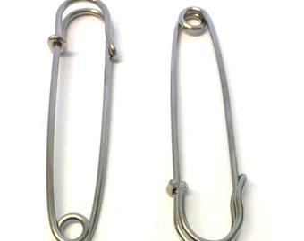 5, 3 inch silver metal kilt pins, metal kilt fasteners, large kilt pins, silver metal kilt pins