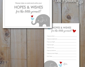Elephant Baby Shower Hopes and Wishes Cards / Blue Red Grey Elephants / Instant Download / PRINTABLE  / #40415