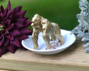 Gorilla Ring Holder, Animal Jewelry Holder, Catch All, Jewelry Dish, Home Decor
