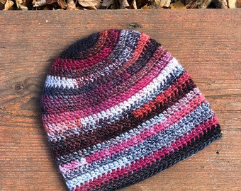 Colorful slouchy hat | Crochet slouchy beanie | Women crochet beanie | Ladies beanie hat | Winter warm ladies hat | Wooden buttons |
