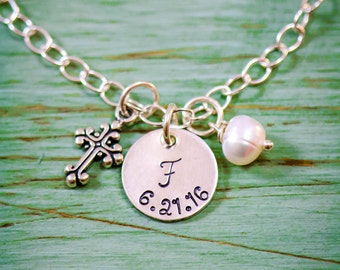 Cross Bracelet Baptism Gift Religious Bracelet Gift Christian Bracelet • Sterling Silver Cross Gift First Communion Bracelet Girl