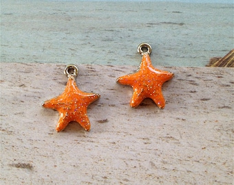 Enameled/Painted/Colored Starfish Charms --2 pieces-(Nickel Plated)--style 972-