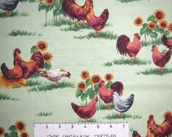 Animal Fabric - Rooster & Sunflowers on Green - VIP Cranston YARD