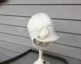 Winter white girls hat