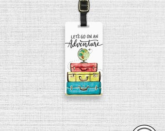 Luggage Tag Lets go on an Adventure Watercolor Suitcase Globe Metal Luggage tag  Printed Custom Info Single Tag