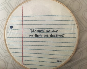 The Perks of Being a Wallflower Embroidery