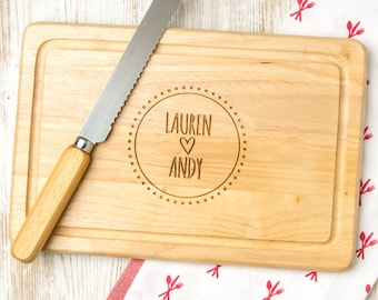 Newlywed Gift Personalized wooden Cutting Board gift for the couple