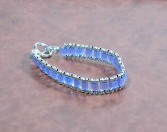Vintage Blue Cat's Eye Cube Silver Bracelet