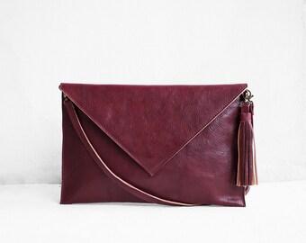 Leather Clutch in Wine, Evening Leather Clutch, Leather Clutch Bag, Envelope Clutch, Red Bag, Red Leather Bag, Wedding Clutch