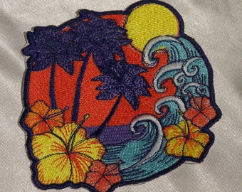 Embroidered Retro Tropical Island Waves Palm Trees Hibiscus Flower Patch Iron On Sew On USA