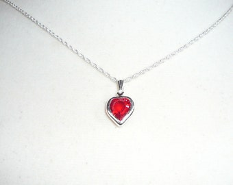 Tiny Heart Necklace, July Birthstone necklace, Swarovski crystal heart in ruby