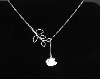 Tweet bird lariat , small bird necklace , branch lariat silver necklace , silver bird branch necklace