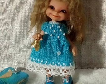 """Realpuki Set """"Turquoise bell"""" Knitted dress and hat"""