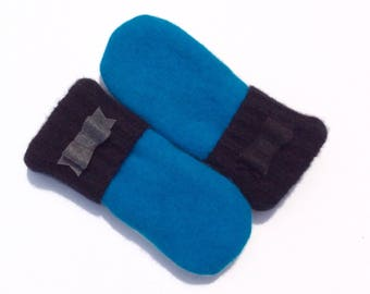 Felted Wool Mittens, Blue, Black and Gray,  Sweater Mittens, Fleece- Lined Mittens, Eco Gift, Gift for Her