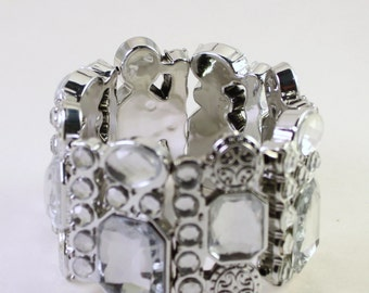 Metallic Silver Plated Acrylic Beaded Bracelet, Double Strand, Rhinestones, Wholesale Bead Supplies