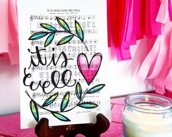It is Well With My Soul 5x7 Print Hymn Fine Art Hymnal Watercolor Ink Painting Praise Sheet Music Hand Lettering Calligraphy War Room