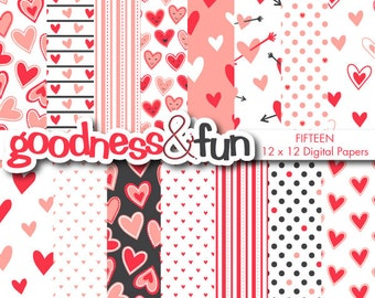 Buy 2, Get 1 FREE - Valentine Whimsy Digital Papers - Digital Valentine's Day Paper Pack - Instant Download