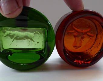 Two Vintage Swedish Glass KOSTA BODA Miniature Bowls. Designed by Erik HOGLUND