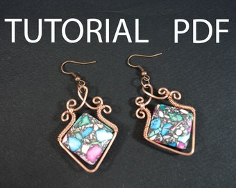 Wire earrings tutorial, wire wrapped tutorial, earrings tutorial, wire earrings tutorial, jewelry tutorial, jewellery tutorial, pdf tutorial