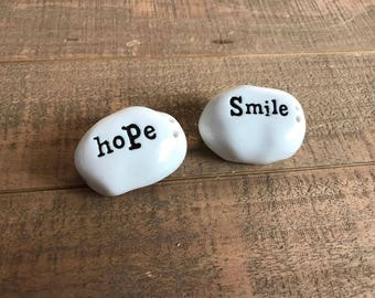 Uplifting White Salt and Pepper Shakers, Hope and Smile, White Salt and Pepper Shakers