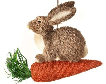 """12"""" Jute Bunny on Carrot/Wreath Supplies/Easter Decor/Easter Bunny/MT19129"""