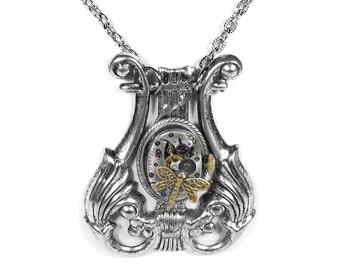 Steampunk Jewelry Necklace LYRE Vintage ELGIN Watch Dragonfly Harp Music Steam Punk Wedding Mothers Day - Jewelry by Steampunk Boutique