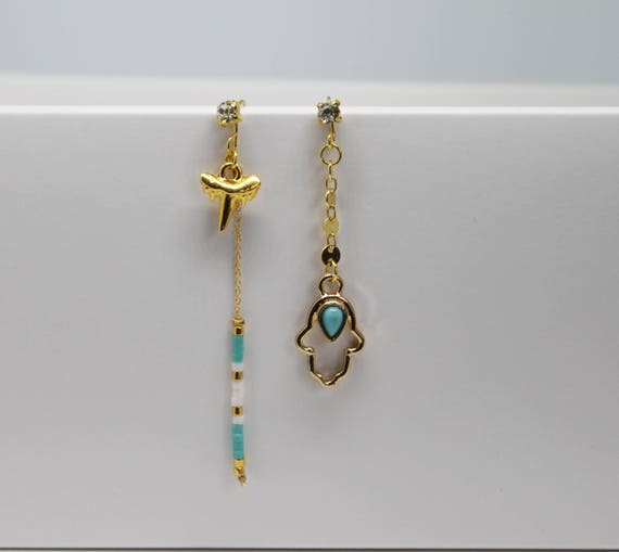 Long earrings, asymmetrical boho, turquoise and gold hand charm good luck