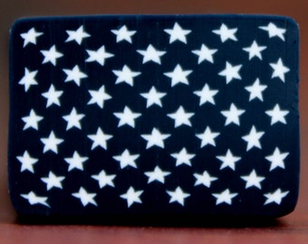 American Flag Canton, White Stars on Navy Blue Polymer Clay Cane (41ee)