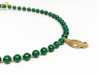 Malachite Necklace with Gold Leaf Pendant