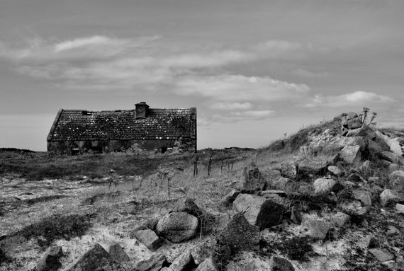 "Ireland Landscape Photograph of a Black and White Connemara ruin 18"" x 12"""