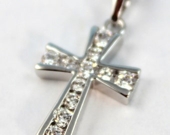 White Gold Filled Cross Necklace Women Girls Crystal Cross Pendant Christian Jewelry High Quality Gift for her