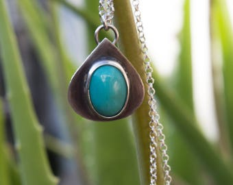 Turquoise silver necklace,Turquoise silver necklace pendant,Turquoise jewelry,Gemstone necklace,Christmas gift,Gift for wife,Artisan pendant