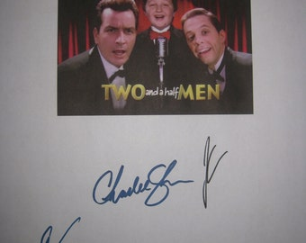 Two and a Half Men Signed TV Film Movie Script X3 Charlie Sheen Jon Cryer Angus Jones autographs signature
