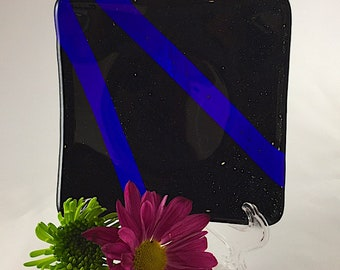 Small Fused Glass Plate, Black with Blue Stripes