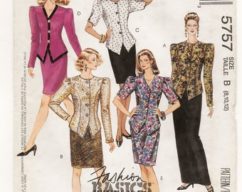 """A Princess Seam Top/Jacket & Straight Long or Knee-Length Skirt Pattern for Women: Uncut - Sizes 8-10-12, Bust 31-1/2"""" - 34"""" ~ McCall's 5757"""