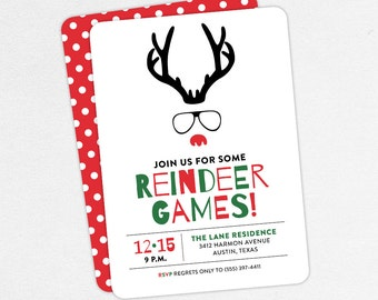 Funny Christmas Party Invitations, Reindeer Games Invitations, Adult Christmas Party Invitations, Kids Christmas Party Invitations, Rudolph