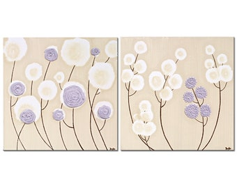 Set of Two Flower Paintings on Small Canvas, Khaki and Lavender Art with Textured Flowers - Small 21x10