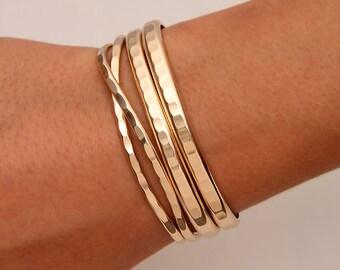 Hammered Cuff Bracelets, 14K Gold Filled