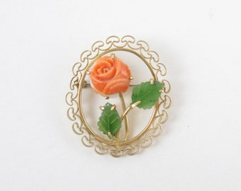Vintage Brooch Coral Rose Oval Pin with Gold Tone Filigree Trim